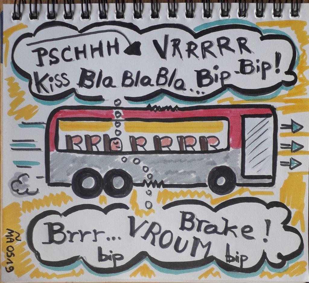 Ce dessin montre un bus qui roule et des onomatopées autour illustrent tous les bruits du bus, dont il est question dans cette méditation sonore.