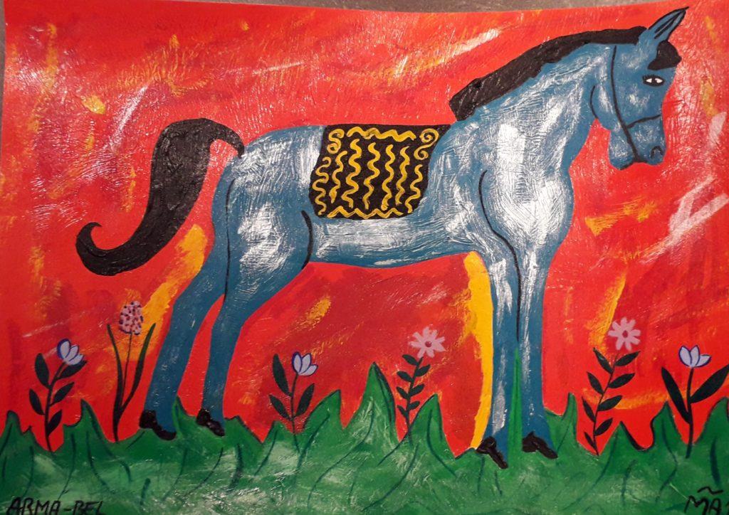 J'ai fait cette peinture qui représente un cheval un peu naïf et coloré, suite à une séance d'équi coaching qui m'a beaucoup marquée et appris sur moi-même.