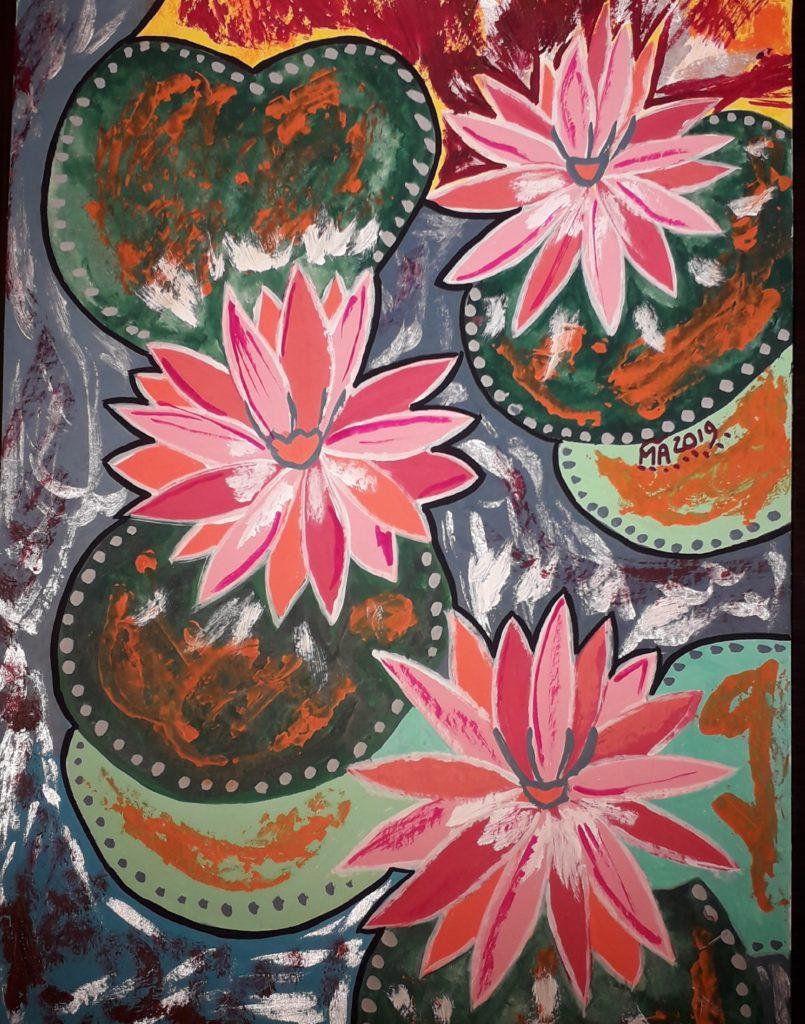 Peinture de 3 fleurs de lotus roses symbolisant l'élévation de l'esprit au dessus des eaux troubles de la vie. Cette image illustre aussi l'énergie vitale qui s'élève au dessus de la peur